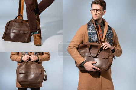 collage of stylish man in winter coat holding leather briefcase on grey
