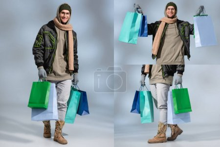 Photo for Collage of stylish and happy man in winter outfit holding shopping bags on grey - Royalty Free Image