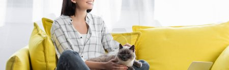 Photo pour Partial view of smiling woman sitting on yellow couch with cat, banner - image libre de droit