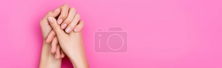 Ansicht weiblicher Hände mit pastellfarbener Maniküre auf rosa Hintergrund, Banner