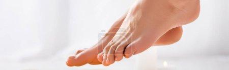 pieds féminins toilettés avec vernis brillant sur les ongles des orteils sur fond blanc, bannière