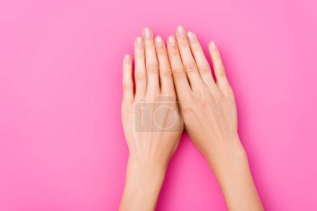 vista superior de las manos femeninas con esmalte pastel en las uñas sobre fondo rosa