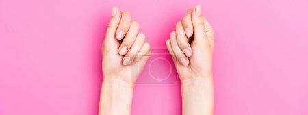 vue du haut des mains féminines avec émail pastel sur les ongles sur fond rose