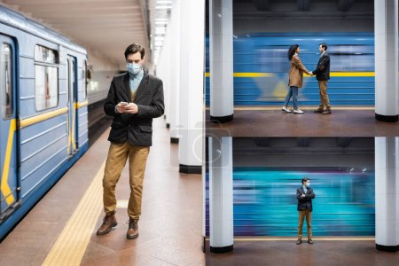 collage of interactional couple holding hands, man in medical mask using smartphone in subway