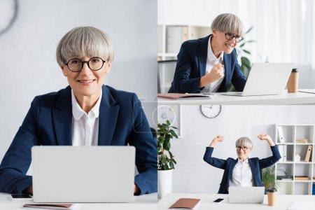 collage de feliz líder de equipo en gafas celebrando triunfo y trabajando en oficina