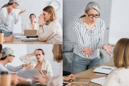 Photo for Collage of worried interracial businesswomen near colleagues on blurred foreground - Royalty Free Image