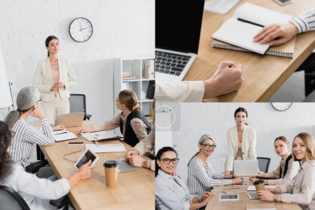 Photo for Collage of team leader standing near multicultural businesswomen during meeting in office - Royalty Free Image