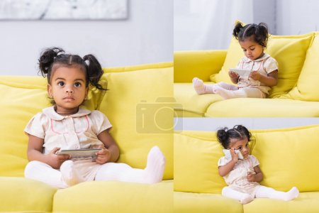 Photo for Collage of toddler african american girl holding smartphone while sitting on sofa - Royalty Free Image