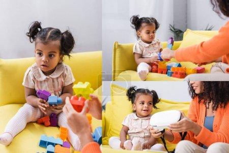 Photo pour Collage de tout-petit afro-américaine fille jouer jeu de blocs de construction et mère tenant vr casque dans le salon - image libre de droit