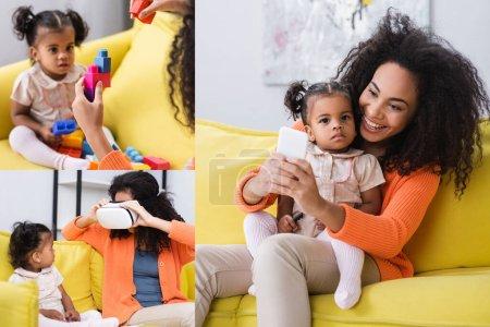 collage de mère afro-américaine jouer jeu de blocs de construction et d'ajuster vr casque et de prendre selfie avec sa fille dans le salon