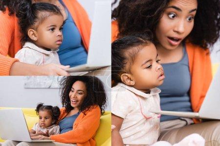 collage de pigiste afro-américain à l'aide d'un ordinateur portable près de la fille tout-petit dans le salon