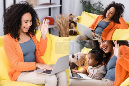 collage of cheerful african american woman waving hand during video call near toddler daughter