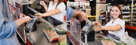 Collage of man paying with smartphone near smiling cashier and food on supermarket checkout, banner