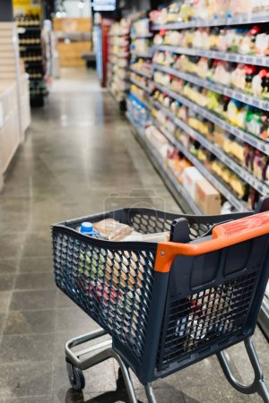 Shopping cart with groceries in supermarket on blurred background