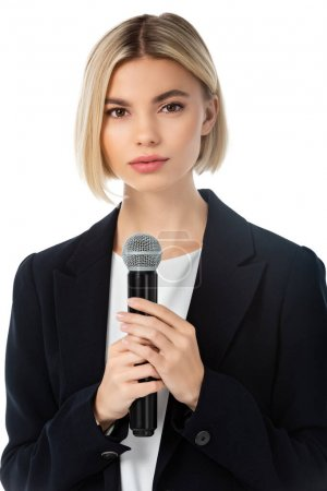 young blonde news anchor with microphone looking at camera isolated on white