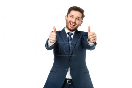 Photo for Successful businessman showing thumbs up at camera isolated on white - Royalty Free Image
