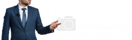 cropped view of anchorman with microphone on blazer pointing with hand isolated on white, banner