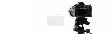 Photo for Professional photo camera isolated on white with copy space, banner - Royalty Free Image