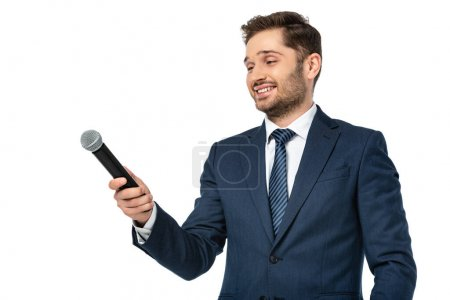 smiling news presenter holding microphone isolated on white