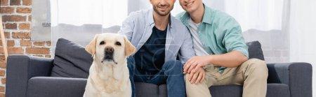 Photo pour Vue recadrée du couple de même sexe assis sur le canapé près du chien, bannière - image libre de droit
