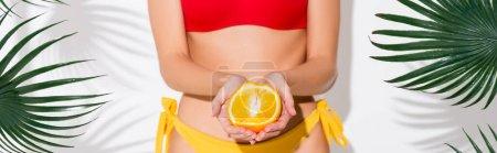 Photo pour Vue partielle de la femme en maillot de bain tenant la moitié de l'orange mûr sur blanc, bannière - image libre de droit