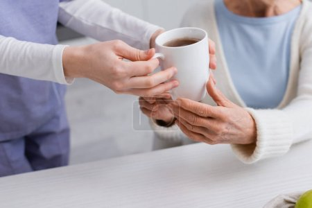 Photo pour Vue recadrée de travailleur social donnant tasse de thé à une femme âgée, fond flou - image libre de droit
