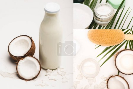 collage of coconut halves, milk and flakes, cosmetic cream and massage brush near palm leaves on white