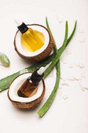 Photo pour Bouteilles d'huile essentielle, moitiés de noix de coco, flocons et feuilles d'aloe vera sur fond blanc flou - image libre de droit