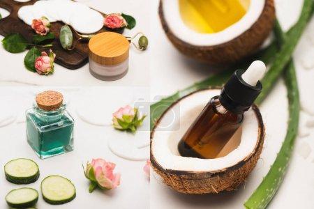 Photo pour Collage de moitiés de noix de coco, bouteille d'huile essentielle, feuilles d'aloe vera, cosmétiques maison et rouleau de jade sur planche à découper sur surface blanche - image libre de droit