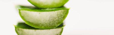 Photo pour Morceaux de coupe, feuilles d'aloe vera juteuses sur surface blanche, bannière - image libre de droit