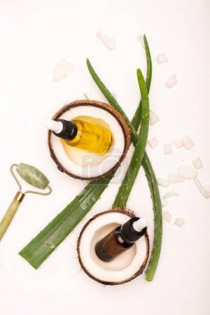 Photo pour Vue du dessus des bouteilles avec huile essentielle, moitiés et flocons de noix de coco près du rouleau de jade et feuilles d'aloe vera sur la surface blanche - image libre de droit