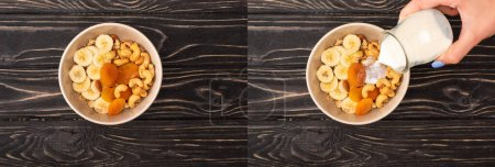 Photo for Collage of woman adding yogurt to delicious granola with nuts, banana and dried apricots on wooden black surface, banner - Royalty Free Image