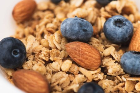 delicious granola with nuts and blueberry