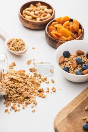 delicious granola with nuts,dried apricots and blueberry on white background