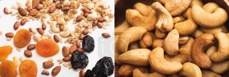 collage of delicious granola with nuts and dried fruits scattered on white and cashew, banner