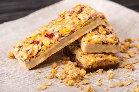 Photo for Closeup of delicious muesli bars on napkin - Royalty Free Image