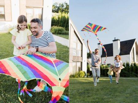 Photo pour Collage de la fille avec le père assemblant le cerf-volant et courant avec la mère tandis que papa volant cerf-volant sur la pelouse près des maisons - image libre de droit