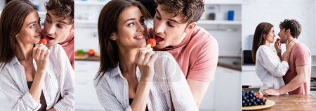 Collage of smiling woman feeding boyfriend with strawberry in kitchen, banner