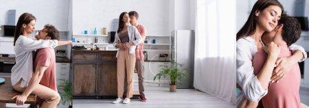 Collage de pareja joven sonriendo y abrazando cerca de la mesa de la cocina, pancarta