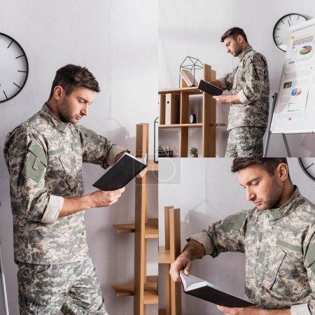 Photo pour Collage de concentré militaire livre de lecture près de rack dans le bureau - image libre de droit