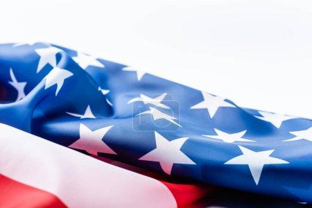 Photo pour Drapeau des Etats-Unis avec des étoiles et des rayures isolées sur blanc - image libre de droit