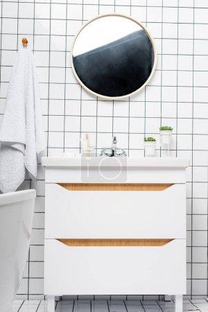 Photo pour Plantes près de l'évier et miroir dans salle de bain moderne - image libre de droit