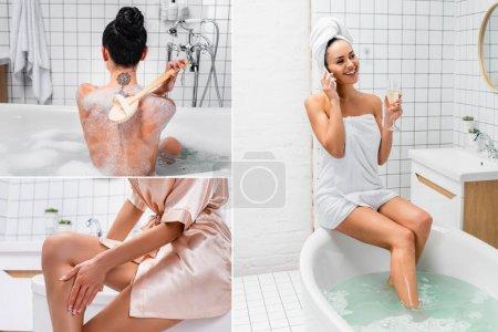 Photo pour Collage de femme souriante avec champagne parlant sur smartphone, utilisant une brosse et prenant un bain avec de la mousse - image libre de droit