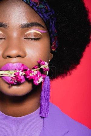 abgeschnittene Ansicht von afrikanisch-amerikanischen junge Frau in lila stilvolles Outfit mit Blume im Mund isoliert auf rot