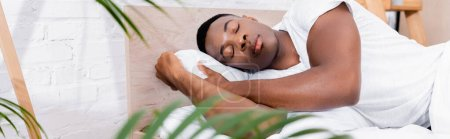 Photo for African american man sleeping on bed near leaves on blurred foreground, banner - Royalty Free Image