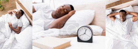 Photo for Collage of african american man sleeping near clock and smiling at camera on bed, banner - Royalty Free Image