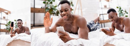Collage of smiling african american man using digital tablet and smartphone with blank screen on bed, banner