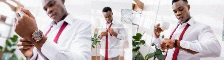 Photo pour Collage d'homme d'affaires afro-américain tenant une tasse de café, portant cravate et montre-bracelet à la maison, bannière - image libre de droit