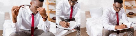 Collage of african american businessman writing on notebook and holding eyeglasses in bedroom, banner