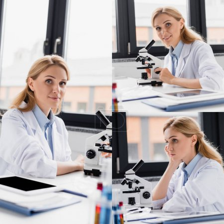 collage of scientist looking at camera near microscope and digital tablet with blank screen